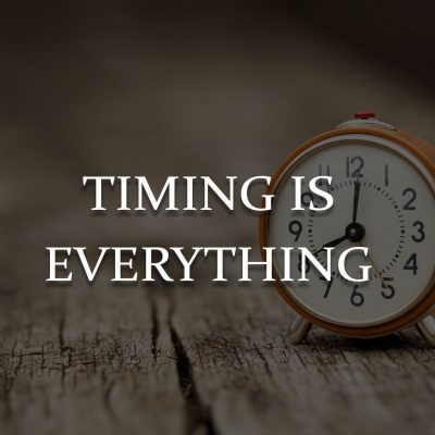 From the 'Stuff Happens' files: Timing is everything